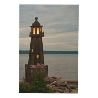 USA, Michigan. Yard Decoration Lighthouse