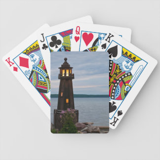 USA, Michigan. Yard Decoration Lighthouse Bicycle Playing Cards
