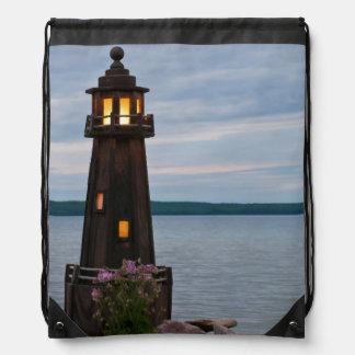 USA, Michigan. Yard Decoration Lighthouse Drawstring Bag