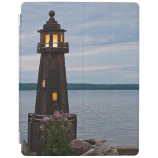 USA, Michigan. Yard Decoration Lighthouse iPad Cover