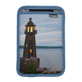 USA, Michigan. Yard Decoration Lighthouse iPad Mini Sleeve