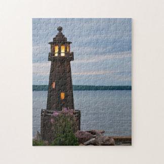 USA, Michigan. Yard Decoration Lighthouse Jigsaw Puzzle