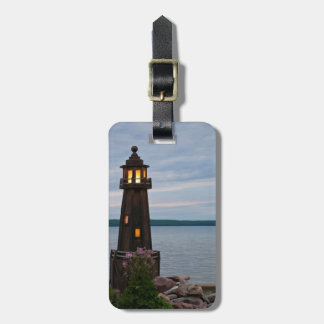 USA, Michigan. Yard Decoration Lighthouse Luggage Tag