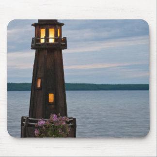 USA, Michigan. Yard Decoration Lighthouse Mouse Mat