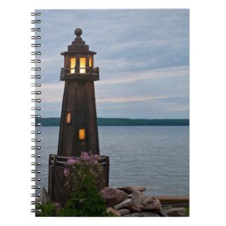 USA, Michigan. Yard Decoration Lighthouse Notebook