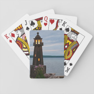 USA, Michigan. Yard Decoration Lighthouse Playing Cards