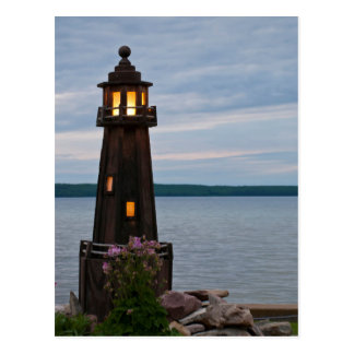 USA, Michigan. Yard Decoration Lighthouse Postcard