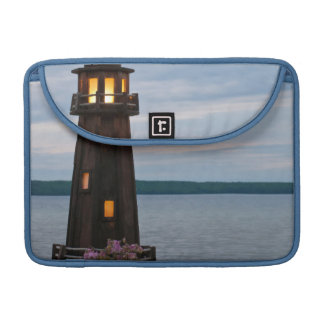 USA, Michigan. Yard Decoration Lighthouse Sleeve For MacBook Pro