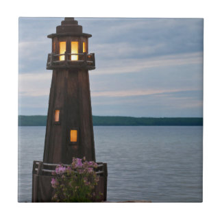 USA, Michigan. Yard Decoration Lighthouse Small Square Tile