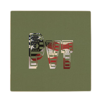 USA Military Green American Pvt Private Wood Coaster