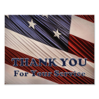 USA Military Veterans Patriotic Flag Thank You Photo Print