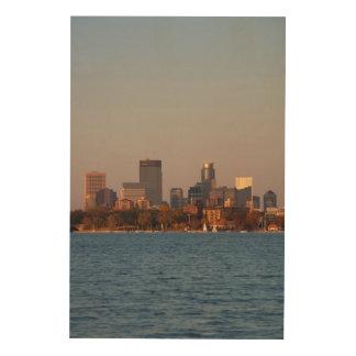 USA, Minnesota, Minneapolis, City Skyline Wood Canvases