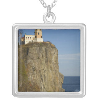 USA, Minnesota.  Split Rock Lighthouse on Lake Silver Plated Necklace