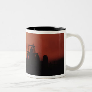 USA, Mississippi, disking cotton field Two-Tone Coffee Mug