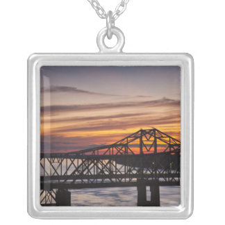 USA, Mississippi, Vicksburg. I-20 Highway and Silver Plated Necklace