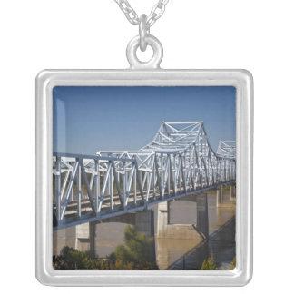 USA, Mississippi, Vicksburg. I-20 Highway Silver Plated Necklace
