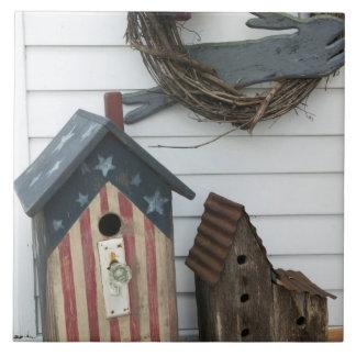USA, Missouri, Herman: Patriotic Birdhouses, Large Square Tile