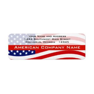 USA Modern Waving Flag Return Address Label