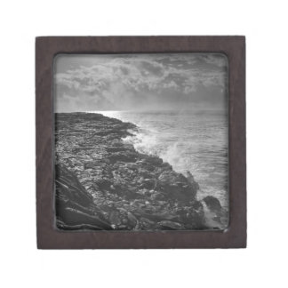 USA. Molten lava flows into the ocean at sunrise Premium Trinket Boxes