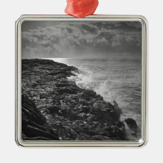 USA. Molten lava flows into the ocean at sunrise Silver-Colored Square Decoration