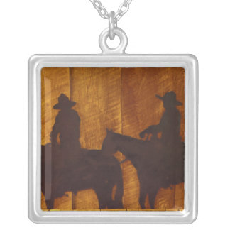 USA, Montana, Boulder River Cowboys on horses Silver Plated Necklace