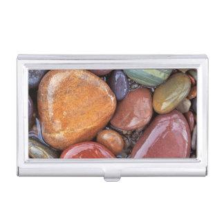 USA, Montana, Clark Fork River, Stones 2 Business Card Holder