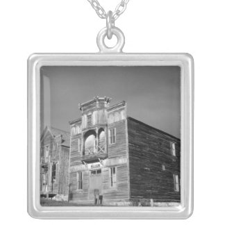 USA, Montana, Elkhorn Fraternity Hall meeting Square Pendant Necklace