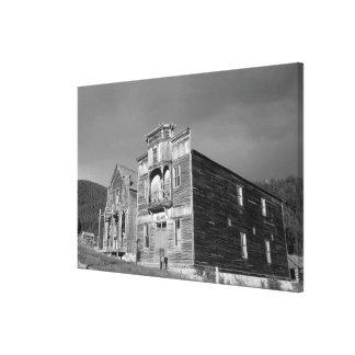 USA, Montana, Elkhorn Fraternity Hall meeting Stretched Canvas Print