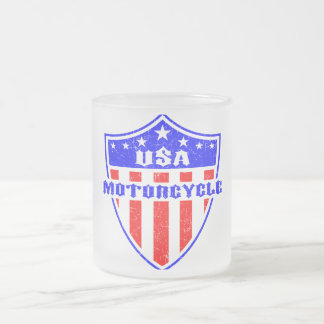 USA Motorcycle Frosted Glass Mug