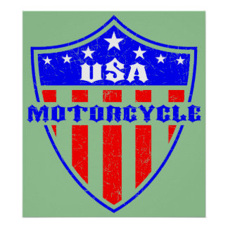 USA Motorcycle Poster