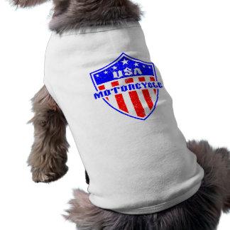 USA Motorcycle Sleeveless Dog Shirt