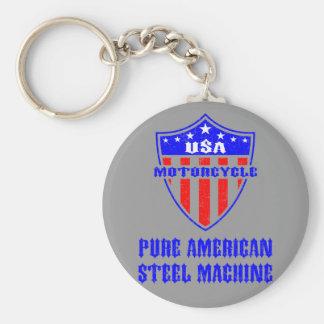 USA Motorcycle Steel Machine Basic Round Button Key Ring