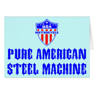 USA Motorcycle Steel Machine Greeting Cards