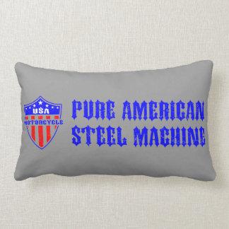 USA Motorcycle Steel Machine Throw Pillows