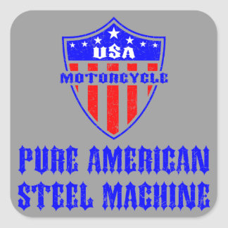 USA Motorcycle Steel Machine Square Sticker