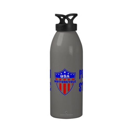 USA Motorcycle Steel Machine Water Bottle