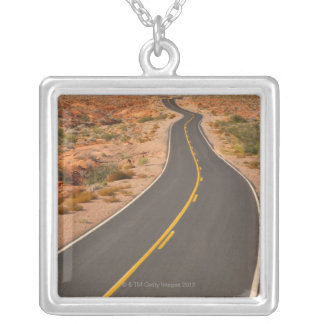 USA, Nevada, Valley of Fire, desert road Silver Plated Necklace
