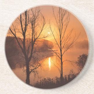 USA, New England, Maine. Autumn Sunrise Coaster