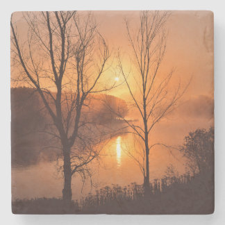 USA, New England, Maine. Autumn Sunrise Stone Coaster