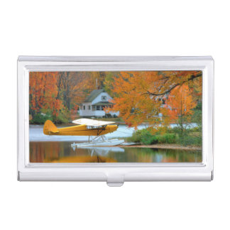 USA, New England, New Hampshire. Float Plane Business Card Holder