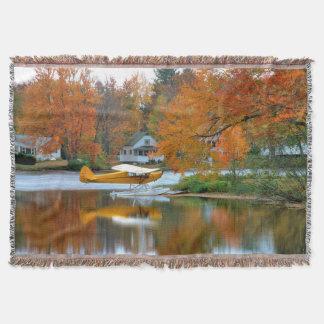 USA, New England, New Hampshire. Float Plane Throw Blanket
