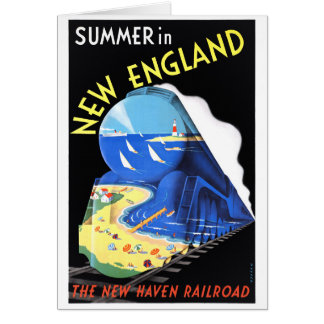 USA New England Vintage Travel Poster Restored Card