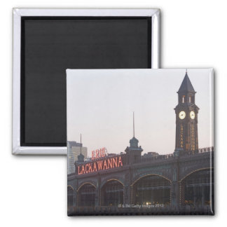 USA, New Jersey, Hoboken, old train station Square Magnet