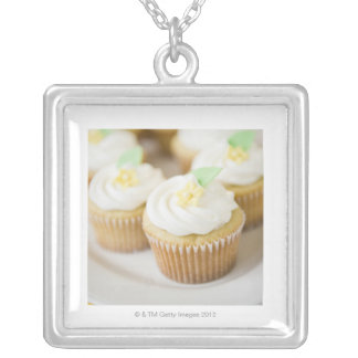 USA, New Jersey, Jersey City, Close up cupcakes Silver Plated Necklace