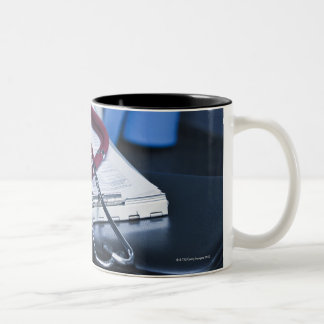 USA, New Jersey, Jersey City, Close up of 2 Two-Tone Coffee Mug
