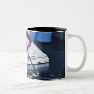 USA, New Jersey, Jersey City, Close up of 2 Two-Tone Mug