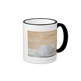 USA, New Jersey, Jersey City, cup and saucer Ringer Mug