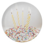USA, New Jersey, Jersey City, Cupcake with Dinner Plate