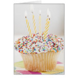 USA, New Jersey, Jersey City, Cupcake with Greeting Card