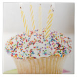USA, New Jersey, Jersey City, Cupcake with Large Square Tile